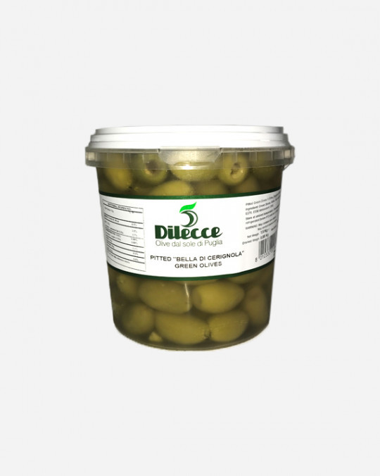 Green Pitted Cerignola Olives Dilecce 1kg